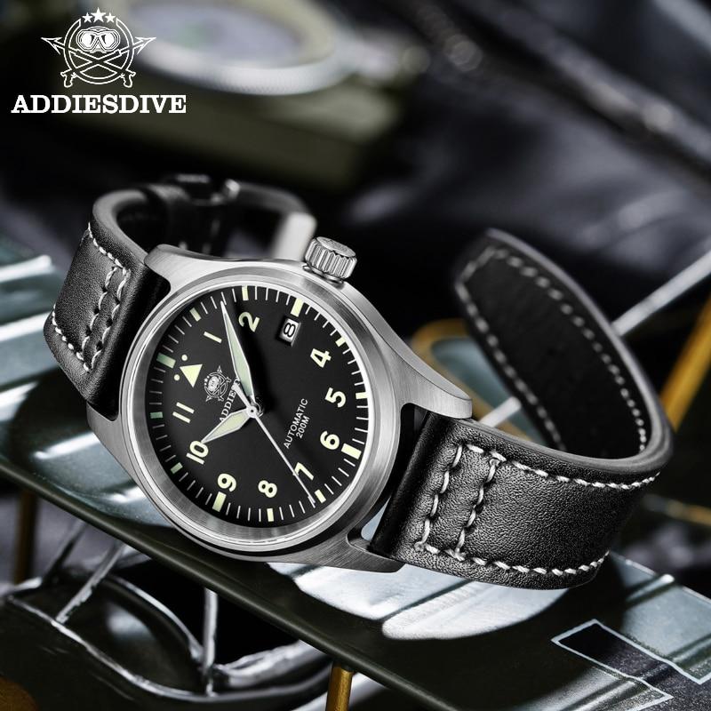 Diver Mechanical Dive Watch For Men Leather Sapphire Crystal Business Men's Pilot Watch NH35 Automat
