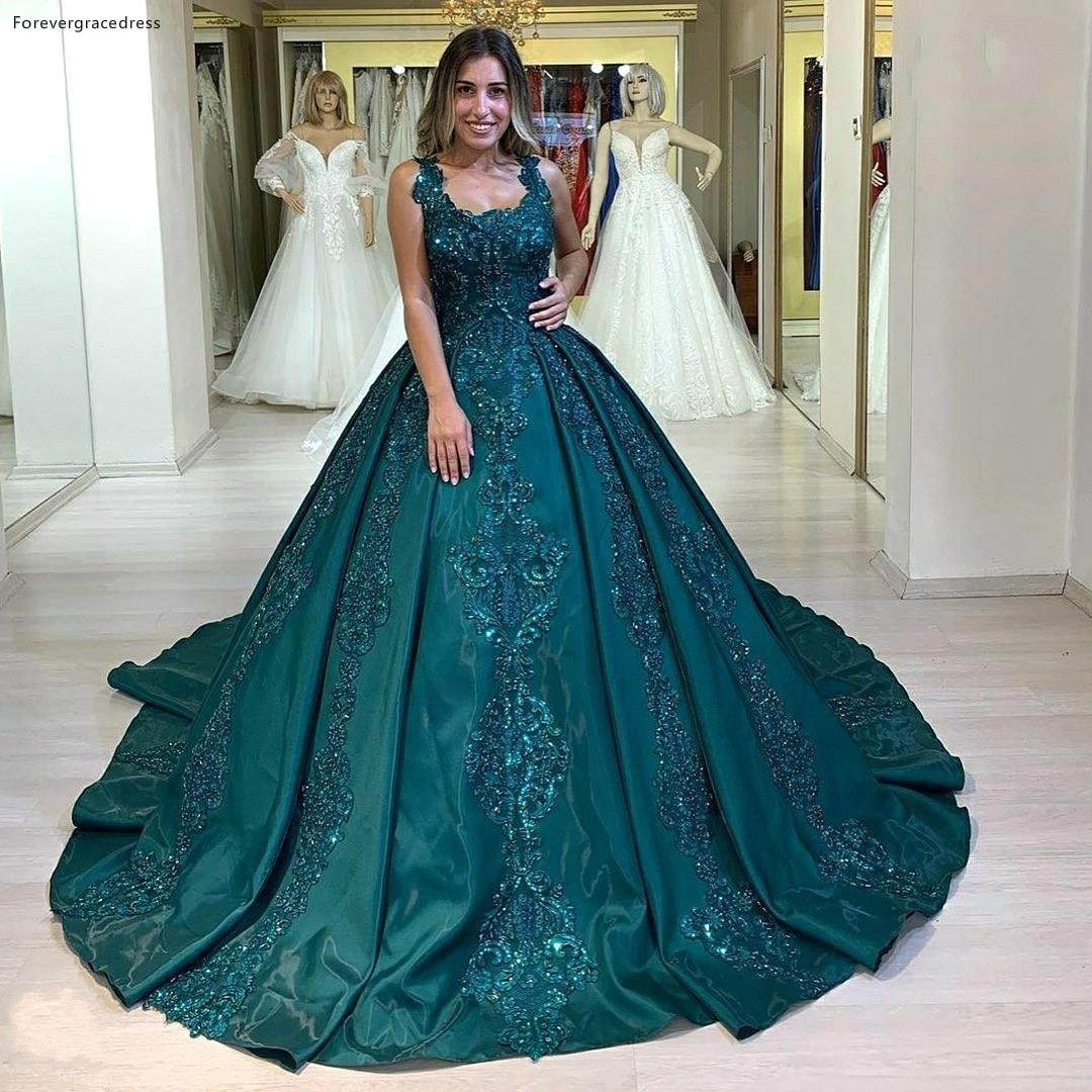 Beaded Lace Puffy Quinceanera Dresses Formal A Line Spaghetti Straps Ruched Long Celebrity Evening Gowns
