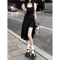 2021 french vintage hepburn style black fake two piece dress womens mid summer long short irregular split skirt