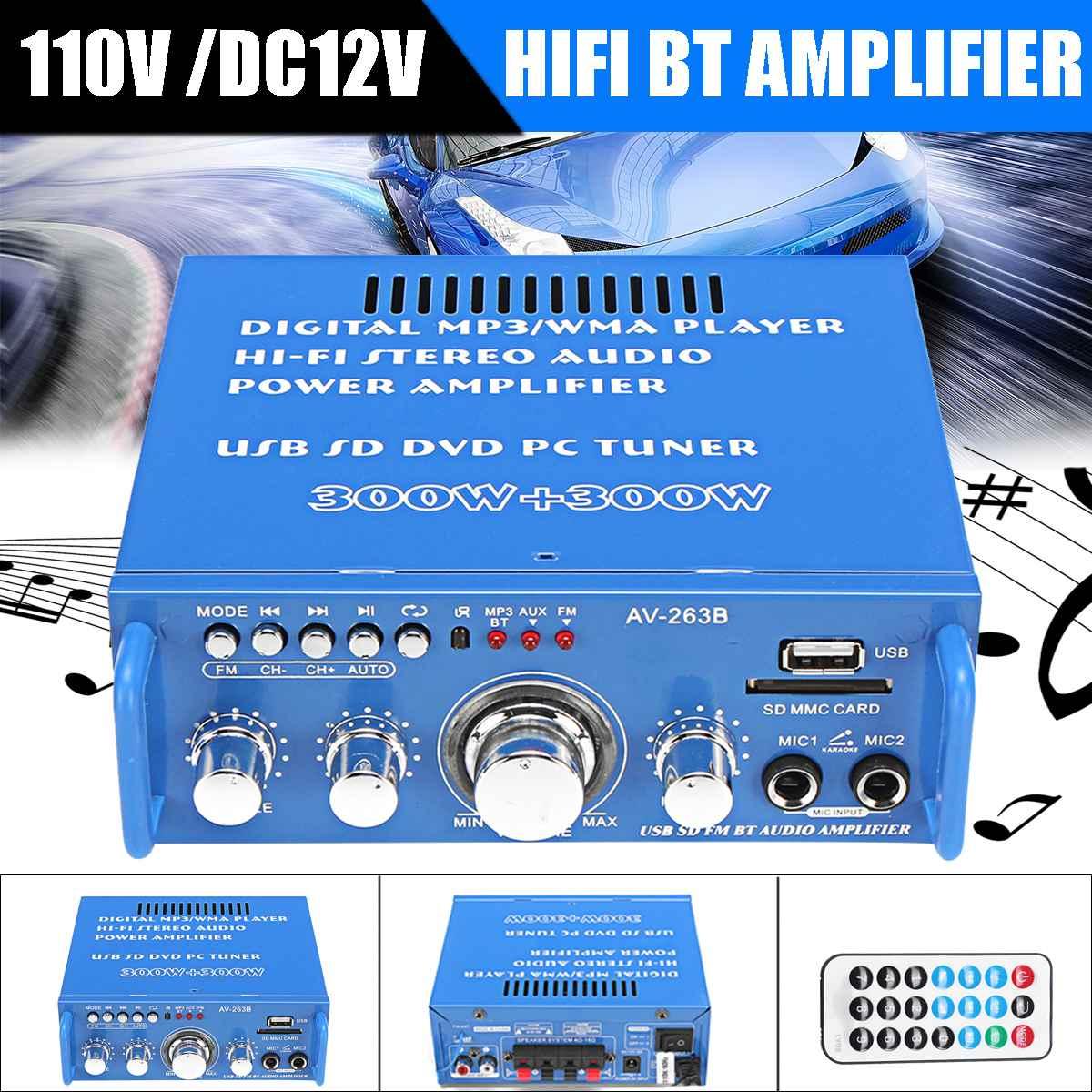 300W + 300W 110V/12V casa Amplificador de potencia de Audio estéreo HIFI 2 CH Digital bluetooth Mini Amplificador FM MP3 reproductor de música