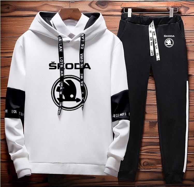 الرجال هوديي سكودا شعار سيارة شريط المطبوعة الربط القطن عادية الربيع الخريف الرجال البلوز sweatpants 2 قطعة دعوى