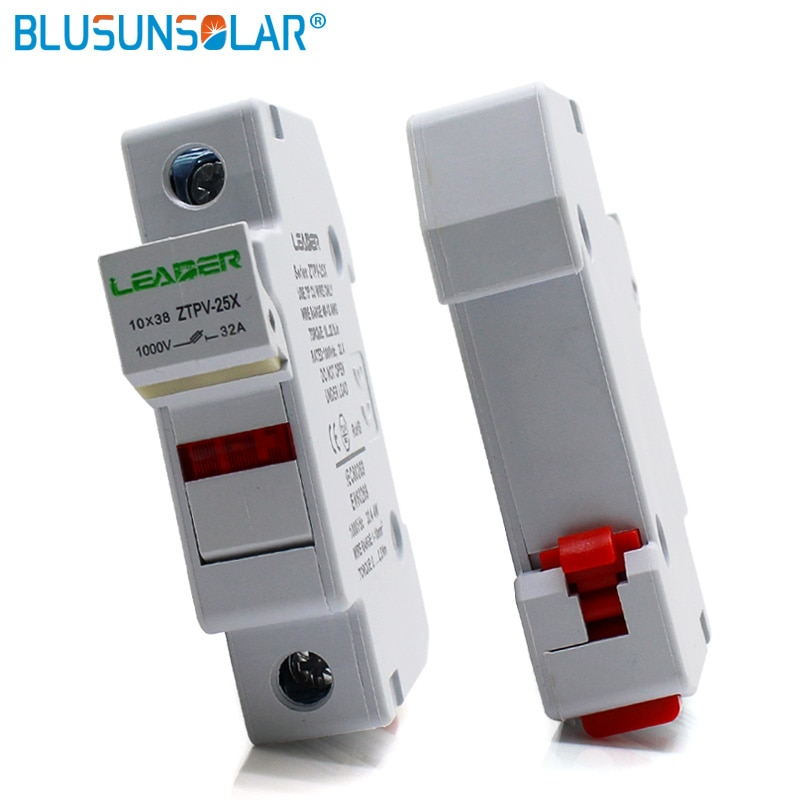 12pcs/lot Solar PV Fuse Holders suitable for 10*38mm PV fuse Fuse Link with LED Indicator light for solar system protection