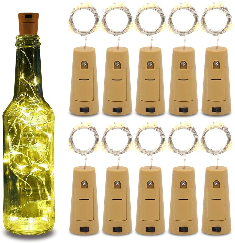 Betus 10 Pack Wine Bottles Cork String Lights - Battery Powered - Decorations for wedding salon