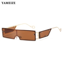YAMEIZE Fashion Punk Sunglasses Women 2020 Luxury Brand Small Rectangle Metal Frame Flat Top Sun Gla