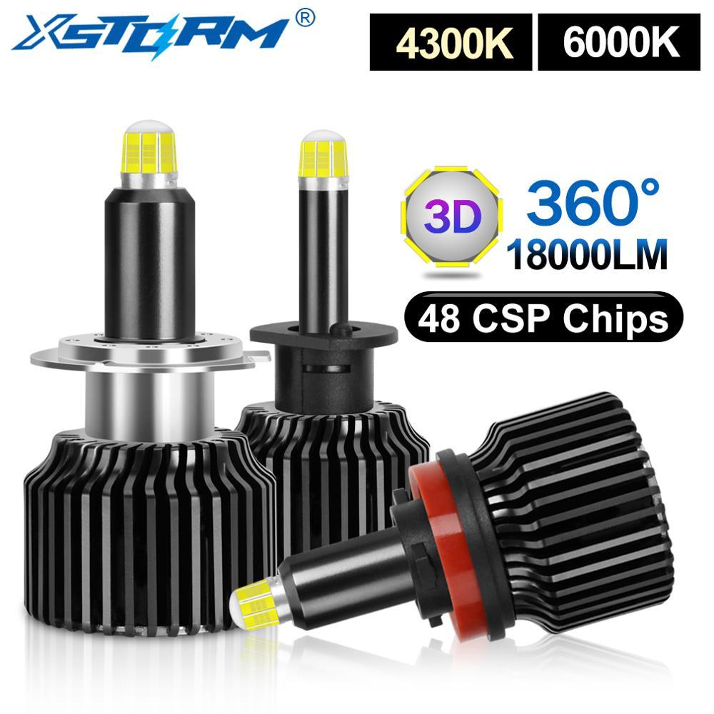 2 قطعة 48 CSP H1 H3 H7 LED لمبة H8 H11 9005 HB3 9006 HB4 في Canbus 3D 360 درجة سيارة العلوي 18000LM السيارات الضباب أضواء توربو Led H7