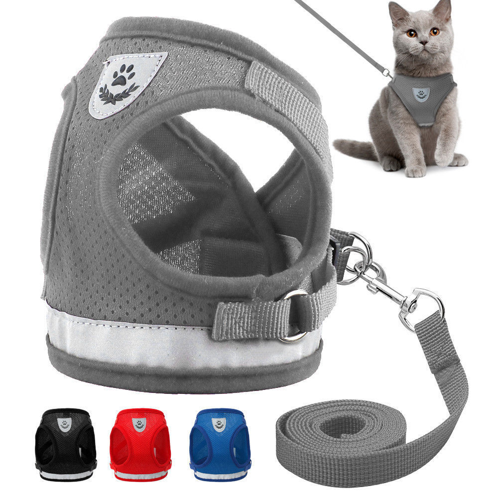Dog Harness and Leash Set for Chihuahua Pug Small Medium Nylon Mesh Puppy Cat Harnesses Vest Reflective Walking Lead Leash