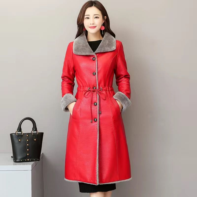 Women's coat leather coat with plush and thick fur in one medium long winter Korean leather coat new women's wear enlarge