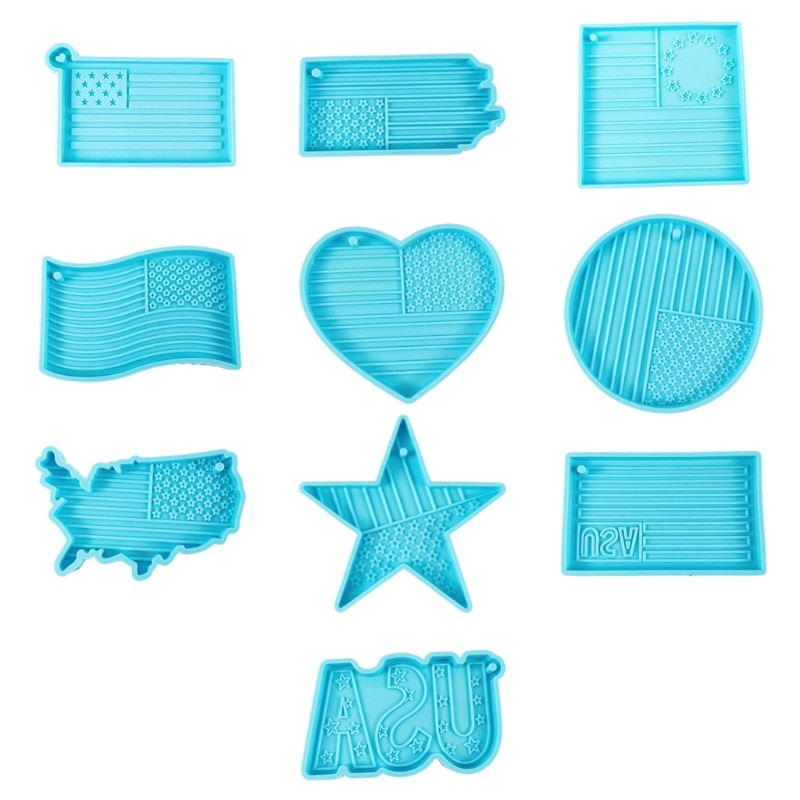 10 Styles Independence Day Flag Keychain Epoxy Resin Mold Jewelry Silicone Mould