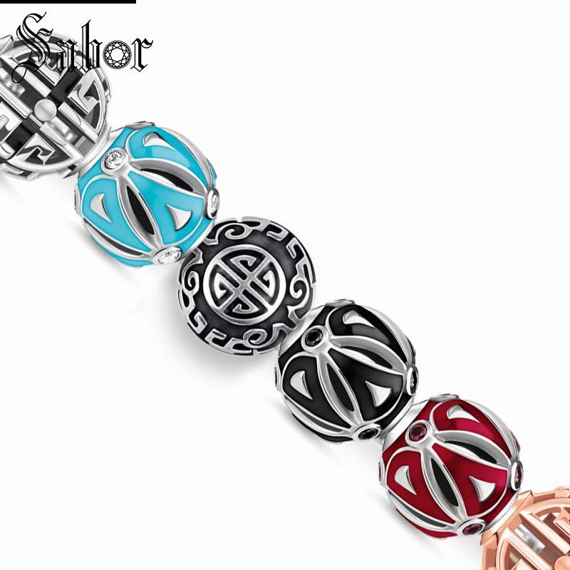 Thomas Charm Beads Long Life ornamentos asiáticos Ethno negro rojo, joyería de plata tibetana Karma ajuste llavero pulsera joyería
