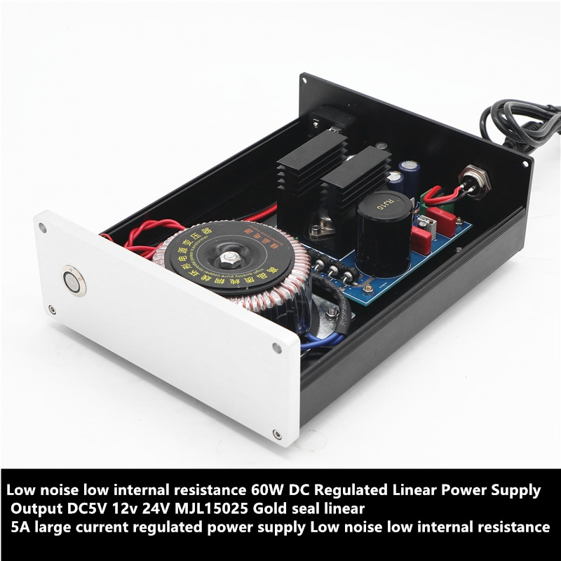 Fuente de alimentación regulada lineal de 60W CC salida DC 5V 19V 12v 24V seal sello dorado fuente de alimentación regulada corriente grande lineal 5A