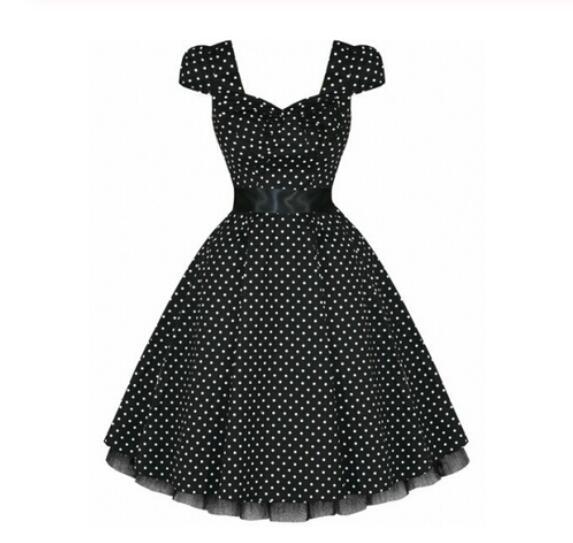 Mais tamanho boné manga vestido de verão vintage rockabilly vestido jurken 50s retro grande swing pinup feminina audrey hepburn vestido