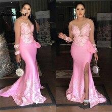 Schöne Rosa Plus Größe Prom Kleider Mit 3d Floral 2020 Satin Formale Abendkleid Slit Afrikanische Meerjungfrau Party Kleid Lange hülse