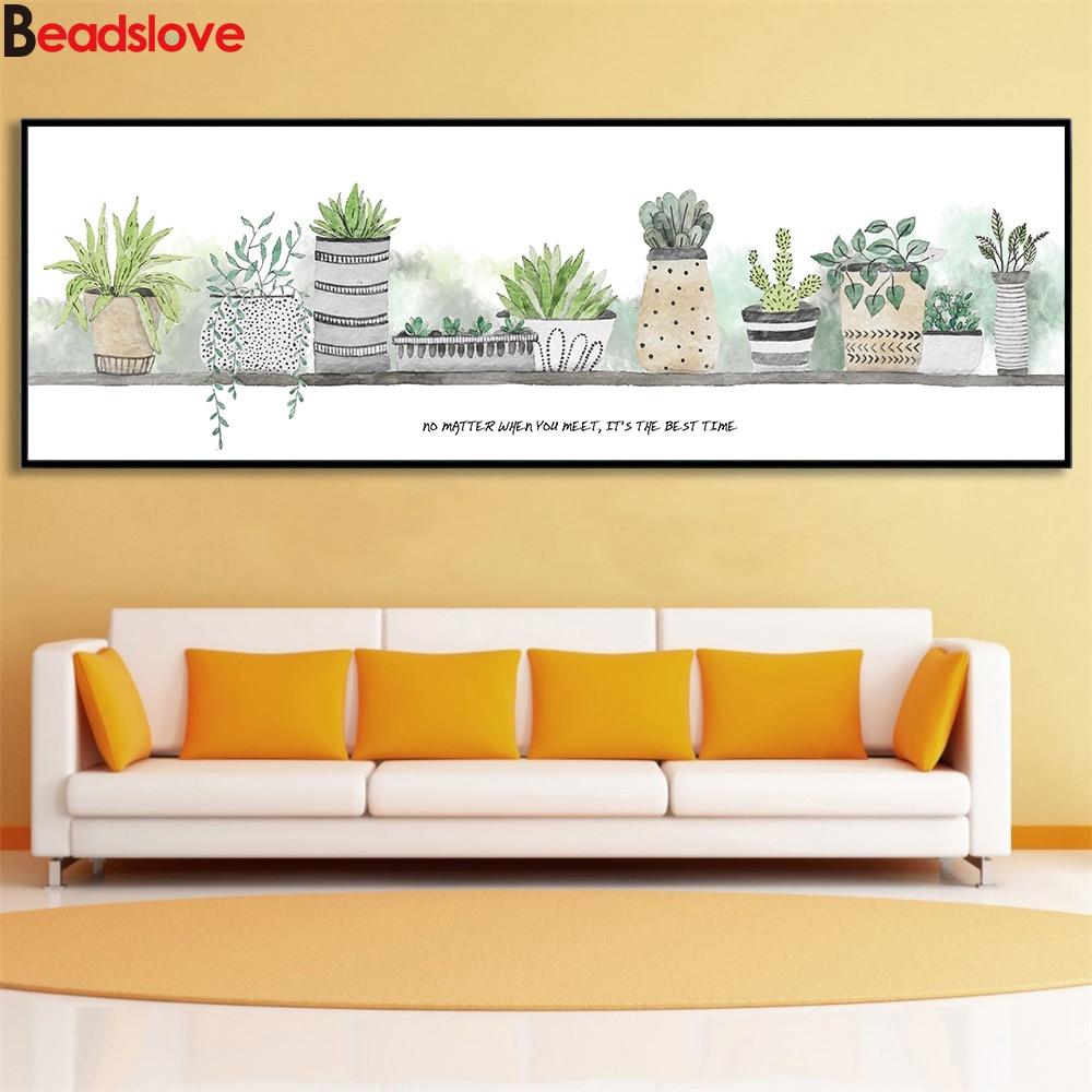 Grande 5d pintura de diamante acuarela Cactus planta lienzo tamaño grande Hoja Bonsai diy diamante bordado completo cuadrado taladro redondo