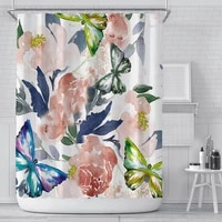 nordic fresh flower shower curtains creative waterproof shower curtains for bathroom fabric large wide shower cover with12 hooks