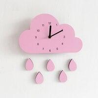 Sale Wall Clock Nordic Style Wooden Cloud Raindrop Shaped Wall Clock Kids Room Decor Baby Room Wall Clock Nursery Decor 28*16CM