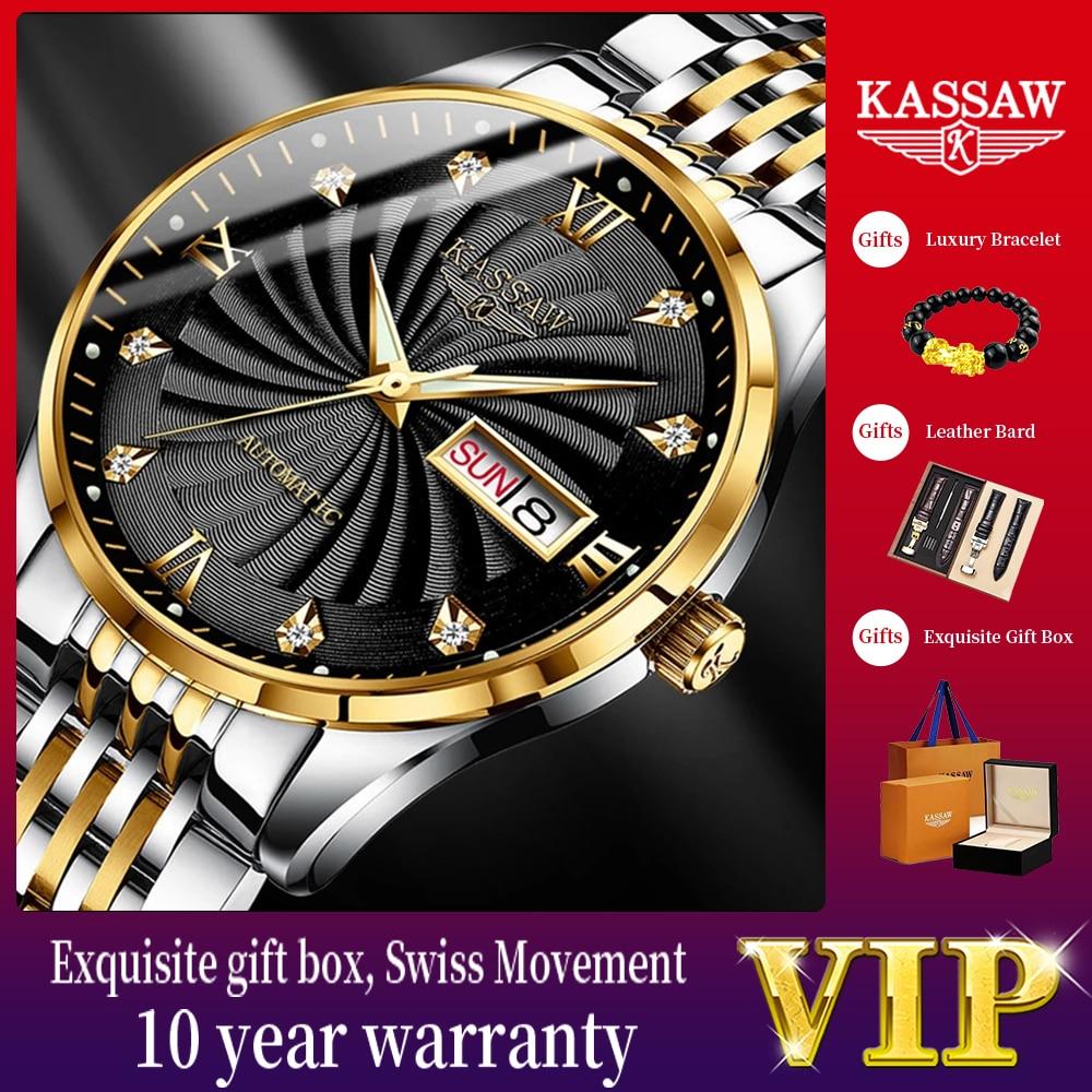 2021 kassee 39 مللي متر الرجال الفاخرة التلقائي الميكانيكية ساعة معصم الرجال الياقوت الفولاذ المقاوم للصدأ مقاوم للماء ساعة Relogio Masculino