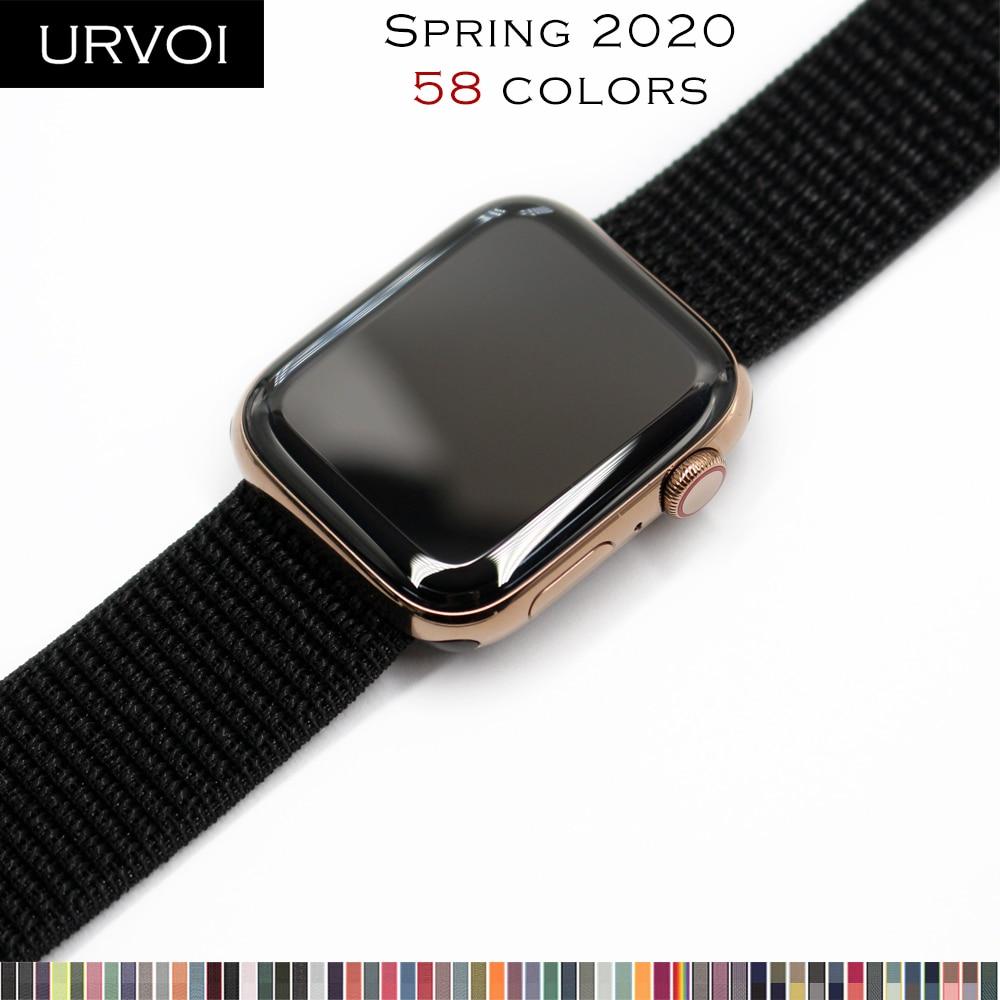 Correa URVOI para apple watch serie 5 4 3 21 Correa iwatch breathabe gancho cierre nailon tejido 40mm 44mm