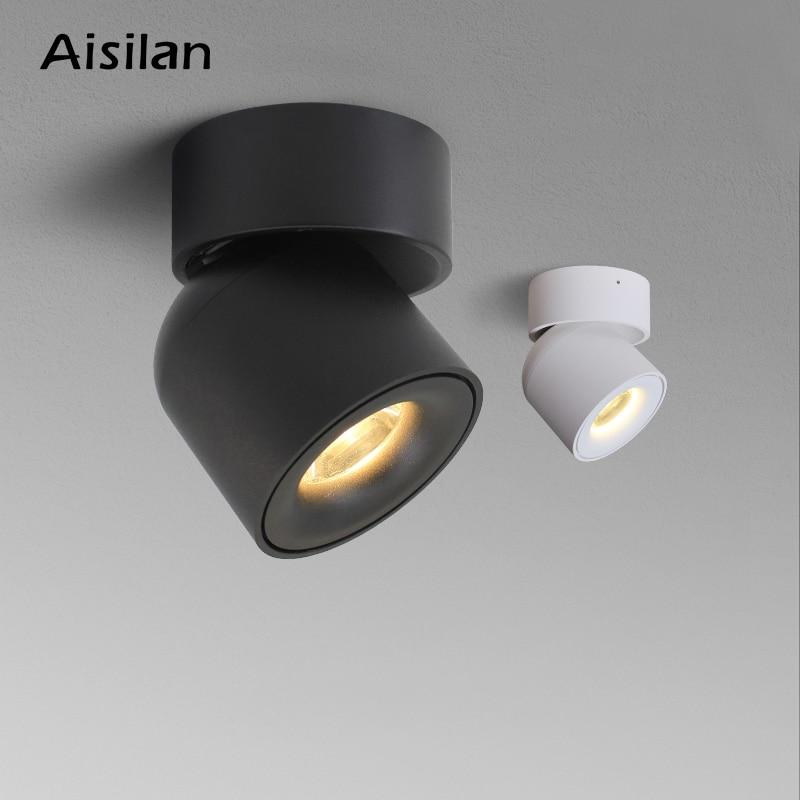 Aisilan LED ضوء السقف سطح شنت 360 درجة منحنى دائري دوران مصباح اسطوانة الإبداعية 7 واط 9 واط كري لمبات سبوت على شكل نبات الذرة