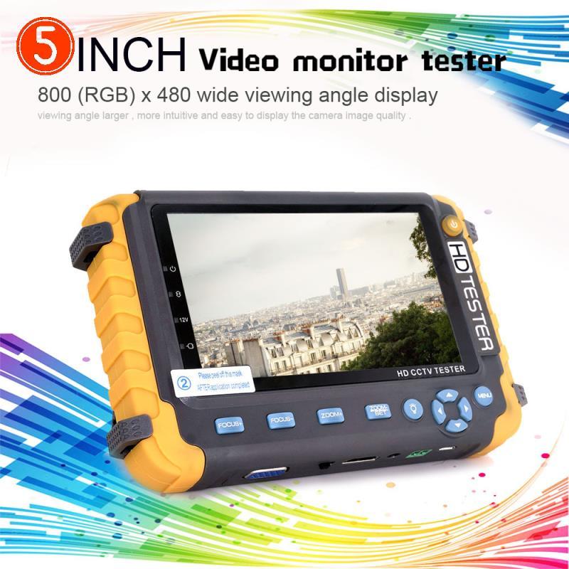 NEW 5 inch TFT LCD HD 5MP TVI AHD CVI CVBS Analog Security Camera Tester Monitor All in One CCTV Tester VGA HDMI Input IV8W