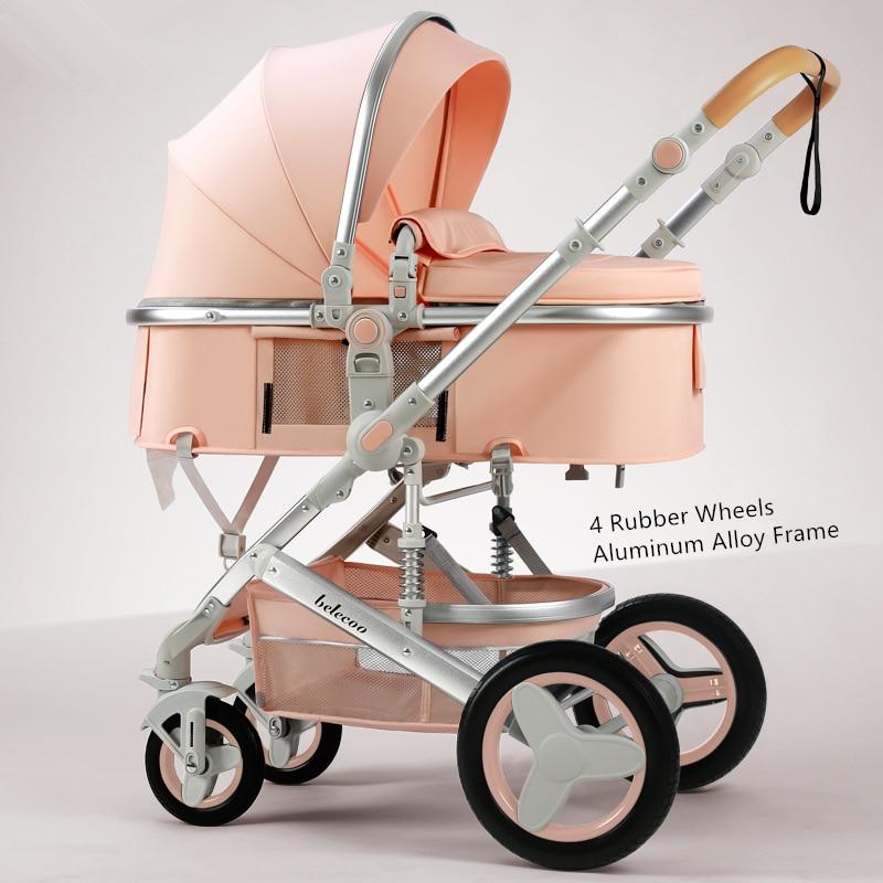 Belecoo-عربة أطفال فاخرة ، عربة أطفال قابلة للعكس ، 3 في 1 ، عربة أطفال ، عربة سفر ، وردي