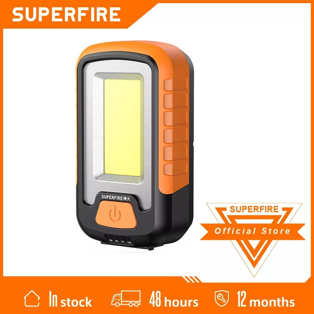 2021 SUPERFIRE G21 USB قابلة للشحن مصباح عمل COB المحمولة مصباح ليد جيب التخييم ضوء المغناطيس تصميم مع قوة البنك وظيفة