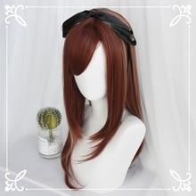 Lolita GOTH Cosplay Perücken Hitze Beständig Faser Synthetische Haar Rot Goldene Mischen Lange Natürliche Gerade Haar + kostenloser haar kappe