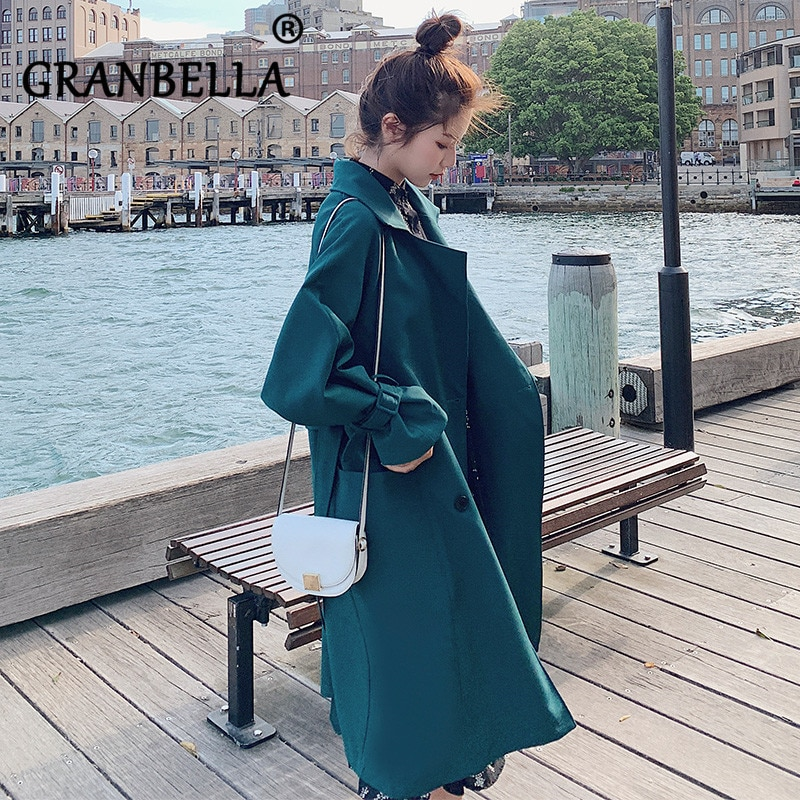 Loose Long Autumn Coat New Fashion Waist Belt Double Breasted Trench Coats All Mach Solid Color Wome