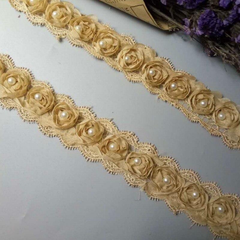 2 Yard Gold Rose Flower Pearl Chiffon Embroidered Lace Trim Ribbon Fabric Handmade DIY Vintage Wedding Dress Sewing Craft