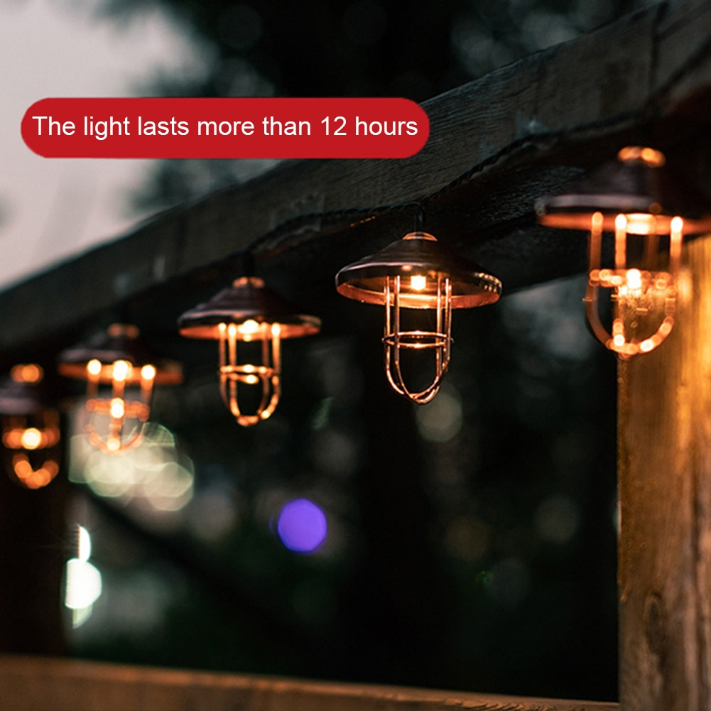 Solar Powered String Lights LED Hanging Moroccan Wrought Iron Decorative Fairy Lamp Lanyard Outdoor Waterproof Garden Decor