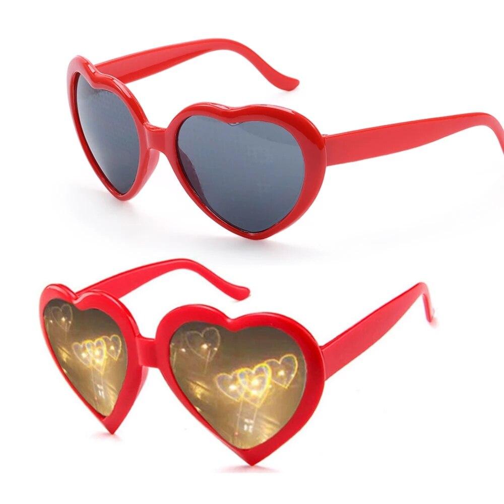 Love Heart Shape Sunglasses Women PC Frame Light Change Love Heart Lens Colorful Sun Glasses Female Red Pink Shades outdoor full frame flat lens sun shades sunglasses