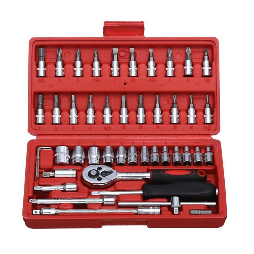 Car Repair Tool Socket Set Hardware Tool Kit For Car Auto Repairing Tool Torque Ratchet Wrench Set 46Pcs