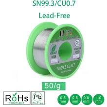 50g de alambre de soldadura sin plomo 0,5-1,0mm núcleo de colofonia sin plomo para soldadura eléctrica RoHs