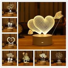 Акриловый светодиодный ночник Love, 3D светильник, подарок на день Святого Валентина, свадебное украшение, милый маленький настольный светильник, пасхальное украшение в виде медведя