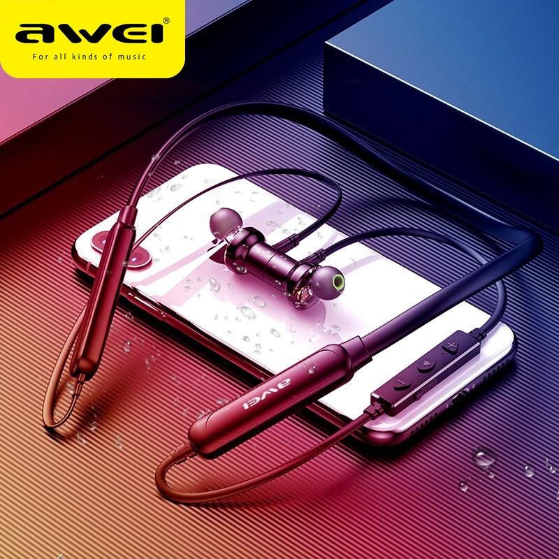 Беспроводные наушники-вкладыши AWEI G20BLS, спортивные Hi-Fi наушники с двойным драйвером и глубокими басами, с шейным ободом для iPhone 11 SE XR