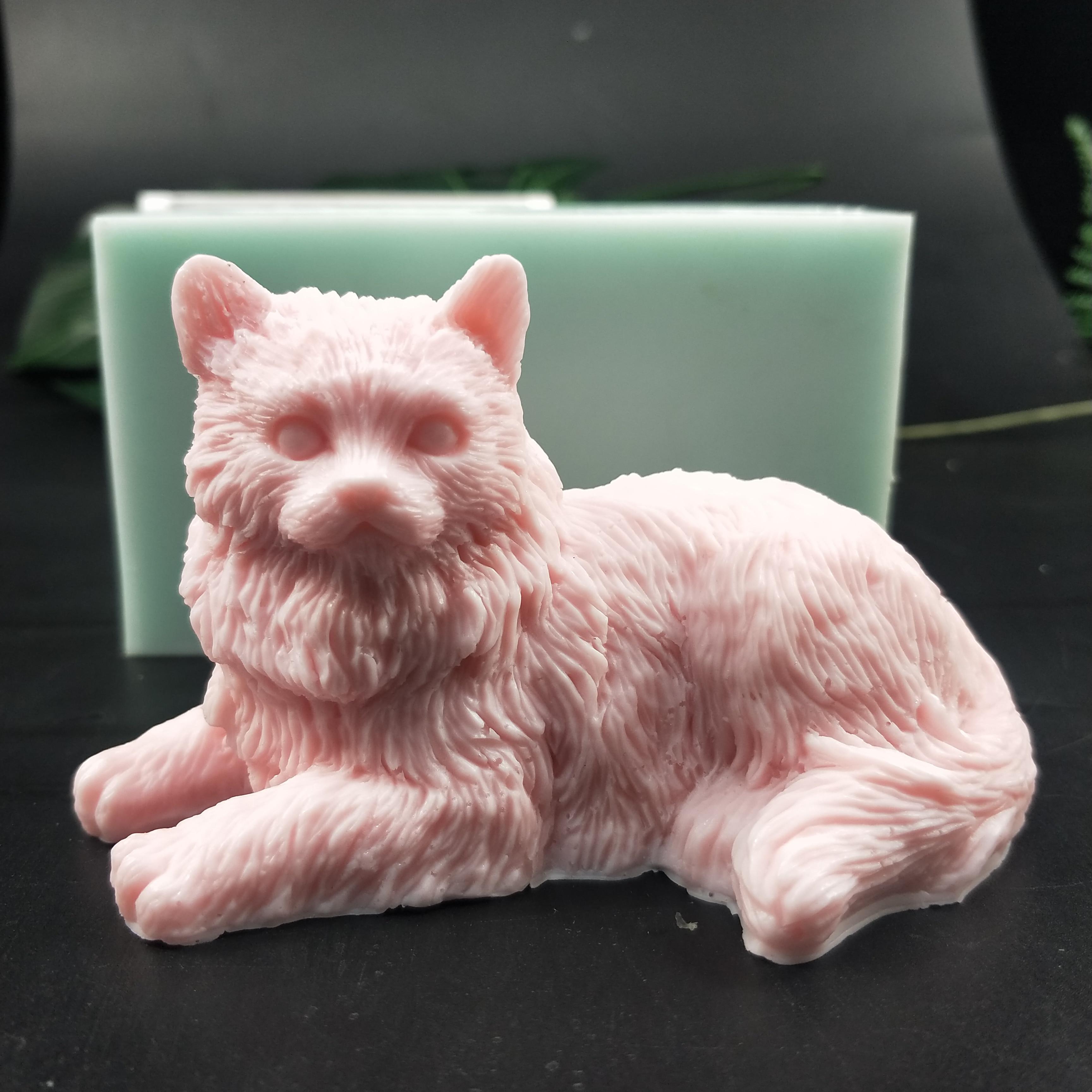 Molde de silicona con forma de gato molde de jabón animales Longhair Cat fabricación artesanal de jabón moldes de vela de silicona Molde de resina arcilla molde DW0193 PRZY 3D