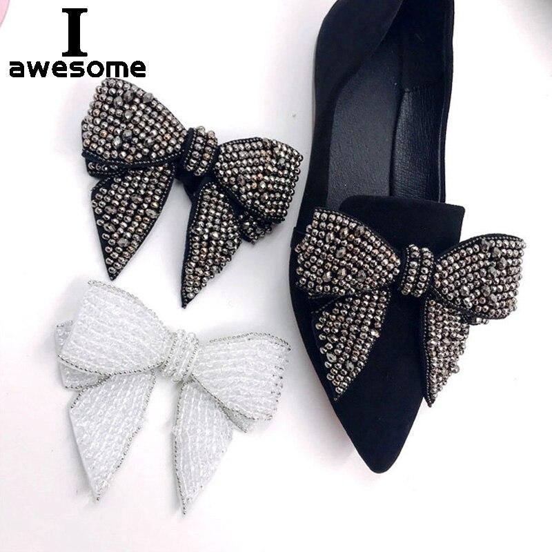 Свадебная обувь для невесты, украшенная бисером и бантом; стразы; аксессуары; босоножки на высоком каблуке; обувь на плоской подошве; блестящая обувь ручной работы
