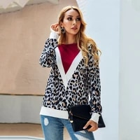 fallwinter 2020 new v shaped leopard print o neck jersey womens long sleeved floral hoodie office blouse