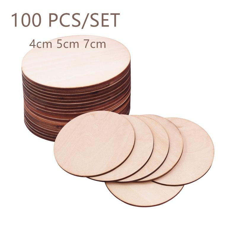 100pcs/set 4-7cm Natürliche Leere Holz Stück Scheibe Runde Unfinished Holz Discs DIY Handwerk für malerei Hochzeit Party Dekoration