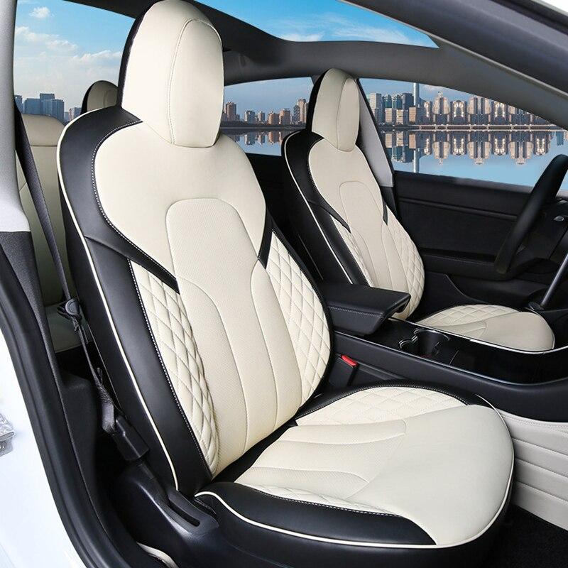 أغطية مقاعد السيارة من الجلد الناعم ، مجموعة مقاعد السيارة لتيسلا موديل 3 Y 2017-2021 ، ملحقات واقية