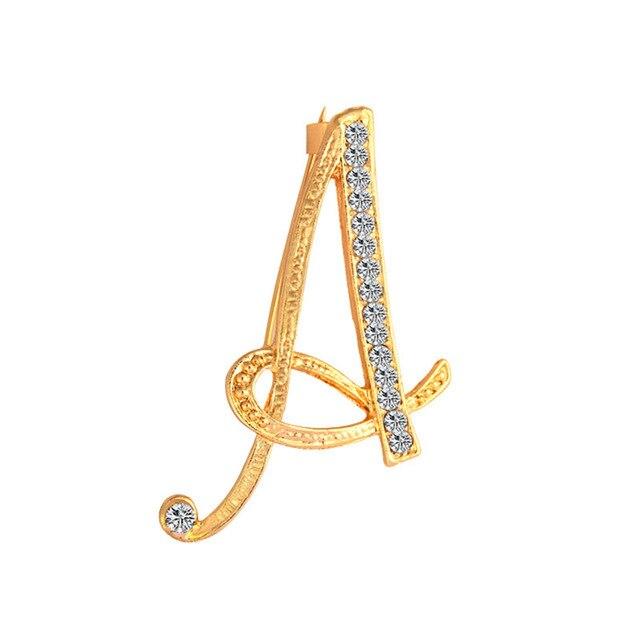 Novo strass cristal broches cor do ouro carta inicial broche A-Z lapela broche pinos jóias temperamento acessórios para mulher