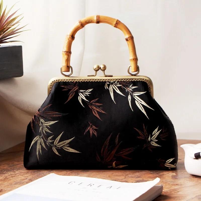Vintage Fashion Women Wood Hand Chic Lady Bag Chain Shoulder Crossbody Bags 2021 NEW Women's Handbags Purses