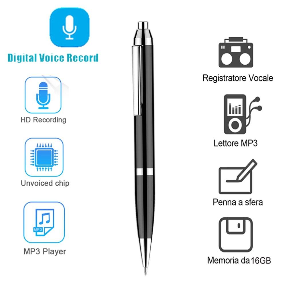 Gravador de Voz Equipamento de Gravação Portátil Mini Profissional Digital Gravação Secreta 16gb