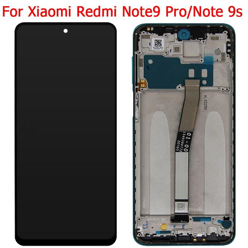 شاشة LCD تعمل باللمس مع شاسيه ، لهاتف Xiaomi Redmi Note 9s ، Note 9 Pro ، أصلي