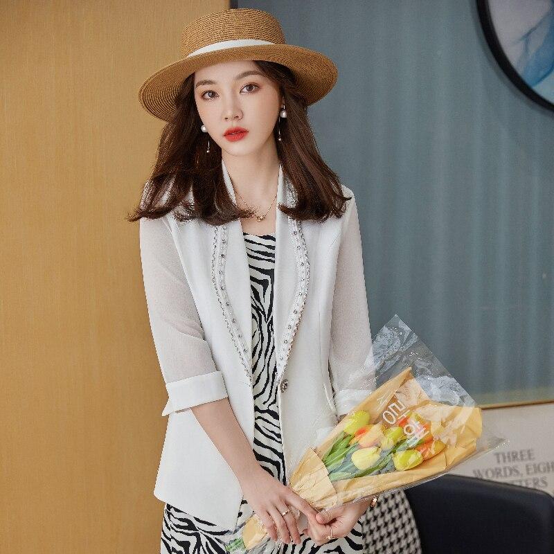 الجدة الأبيض نصف كم الرسمي OL أنماط بليزرات جاكيتات معطف الأعمال النساء العمل ارتداء المهنية أبلى بلوزة القمم