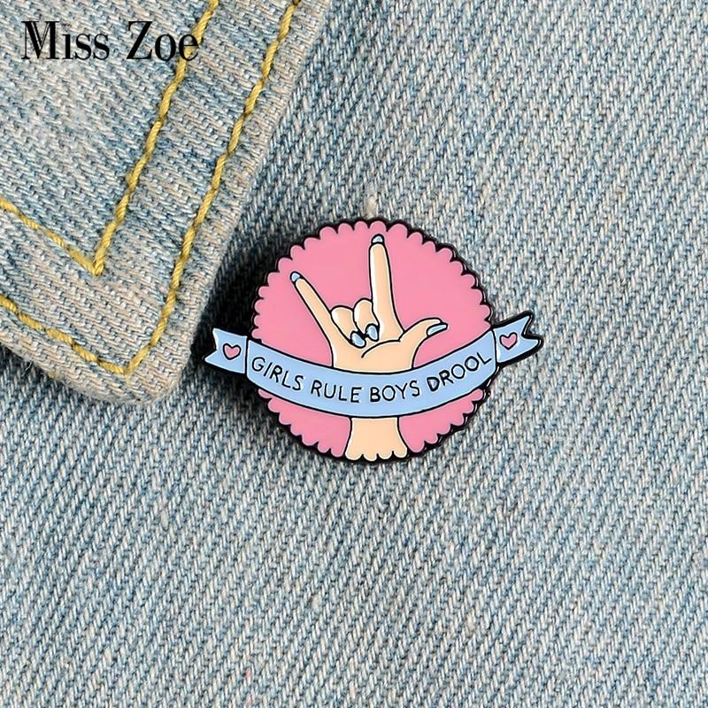 Girls Rule Boys Drool Enamel Pins Custom Girl Power Brooches Lapel Pin Shirt Bag Round Badges Feminist Jewelry Gift for Women