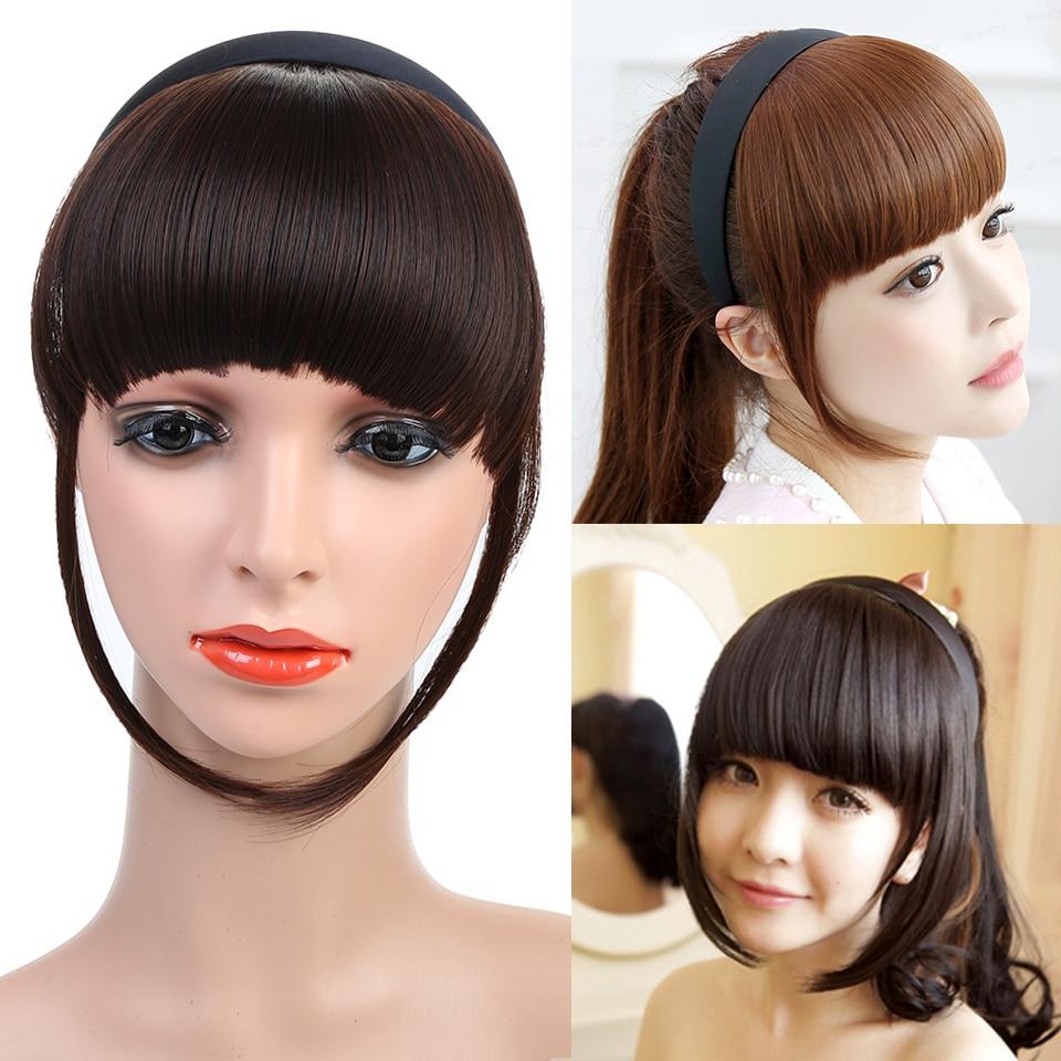 Grampo de fibra de alta temperatura na franja hairpieces headwear curto liso liso falso extensões de franja de cabelo sintético