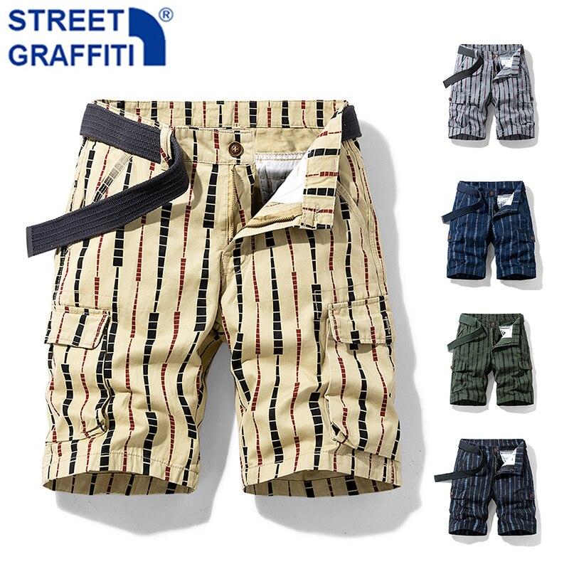 2021 Men Summer New Tactical Cotton Cargo Shorts Men Breeches Pockets Shorts Men Casual Fashion Stripe Camouflage Beach Shorts