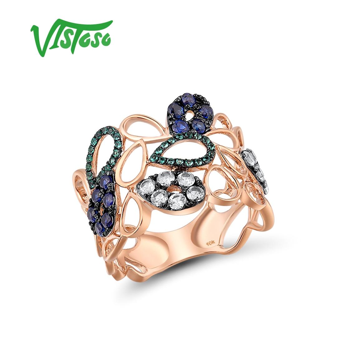 VISTOSO-خاتم من الذهب الوردي عيار 375 عيار 9 قيراط من الياقوت الأزرق والزمرد والياقوت الأبيض والمجوهرات الراقية المتلألئة