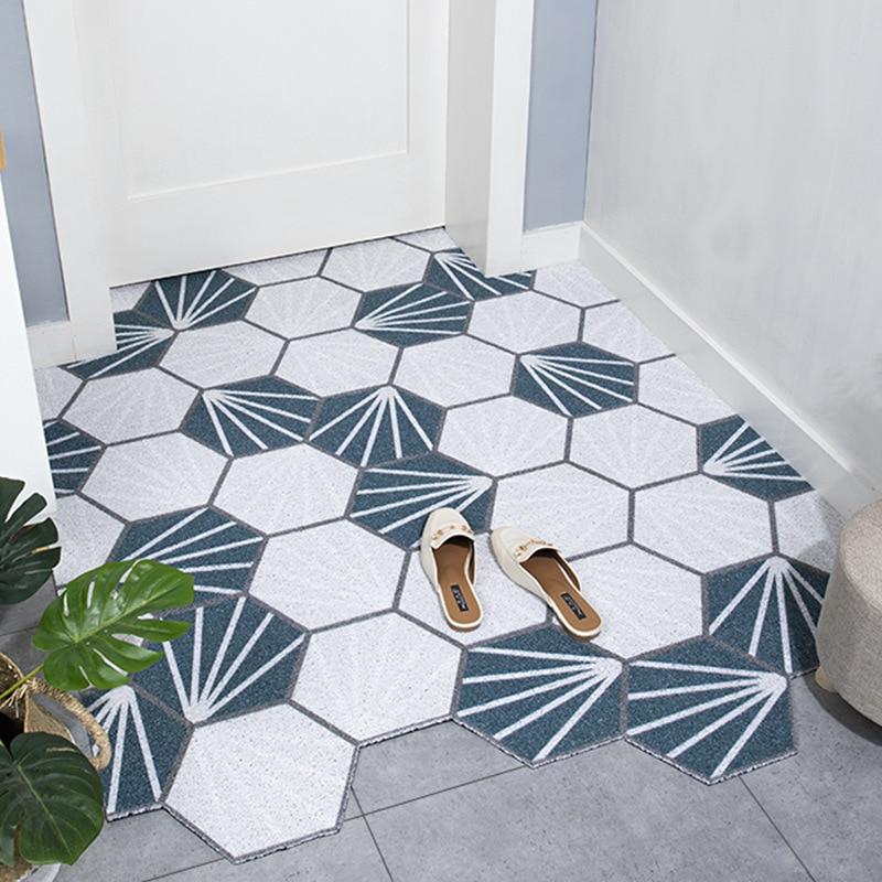 Doormat Dust Removal Door mat Carpet PVC Wire Loop Anti-Slip Floor Mat Mats For Outdoor Indoor Entrance Kitchen Bathroom Rug