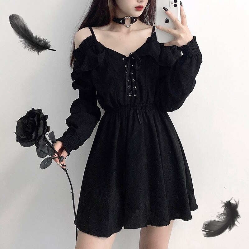 Dress devil girl original black 2021 spring and autumn sexy high waist viper dress shoulder long sleeve gothic dress ins hot